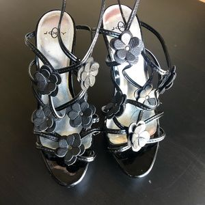 Joey Ankle Buckle and Strap Black Heels Size 7